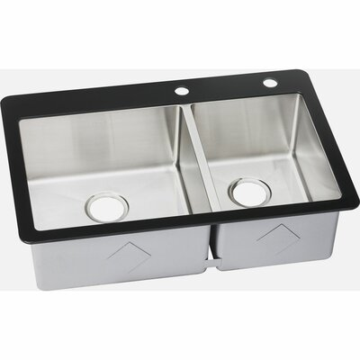 Crosstown 33.12 x 21.39 Stainless Steel Double Bowl Top Mount Kitchen Sink