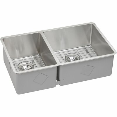 Crosstown 32 x 19 Double Basin Undermount Kitchen Sink with Grid and Drain Assembly