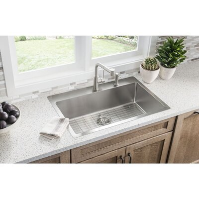 Crosstown� 33 x 22 Stainless Steel Single Bowl Universal Mount Kitchen Sink Faucet Drillings: ML2