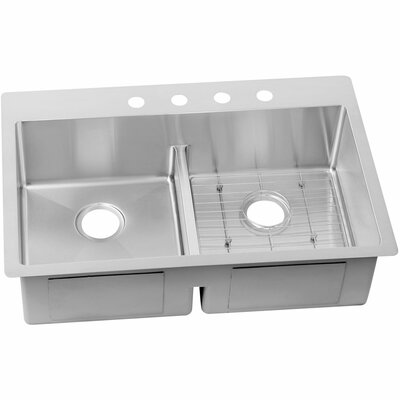Crosstown 33 x 22 Stainless Steel Double Bowl Dual Mount Kitchen Sink