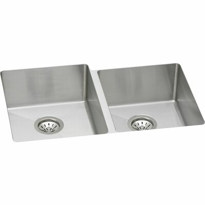 Crosstown 31 x 21 Double Basin Undermount Kitchen Sink with Grid and Drain Assembly