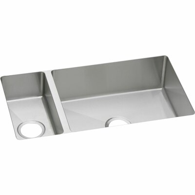 Crosstown 32 x 18 Double Basin Undermount Kitchen Sink with Gird and Drain Assembly