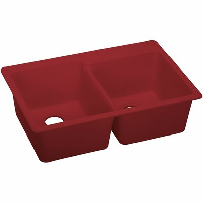 Quartz Luxe 33 x 22 Double Bowl Top Mount Kitchen Sink Finish: Maraschino