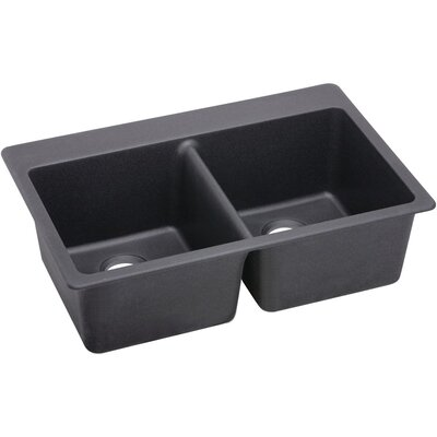 Quatrz Luxe 33 x 22 Double Bowl Top Mount Kitchen Sink Finish: Charcoal