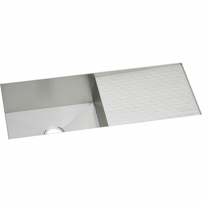 Crosstown 44 x 18 Undermount Kitchen Sink with Drainboard, Grid and Drain Assembly