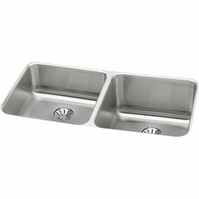 Gourmet 30.75 x 18.5 Stainless Steel Double Bowl Undermount Kitchen Sink Bowl Depth: Left 7.9/Right 11.5