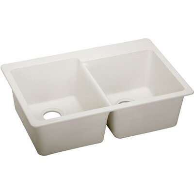 Quartz Luxe 33 x 22 Double Bowl Top Mount Kitchen Sink Finish: Ricotta