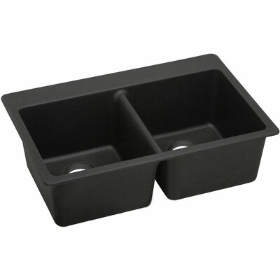 Quatrz Luxe 33 x 22 Double Bowl Top Mount Kitchen Sink Finish: Caviar