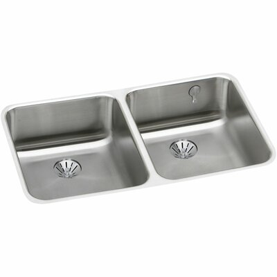 Gourmet 30.75 x 18.5 Stainless Steel Equal Double Bowl Undermount Kitchen Sink