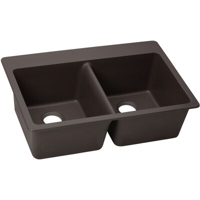 Quatrz Luxe 33 x 22 Double Bowl Top Mount Kitchen Sink Finish: Chestnut