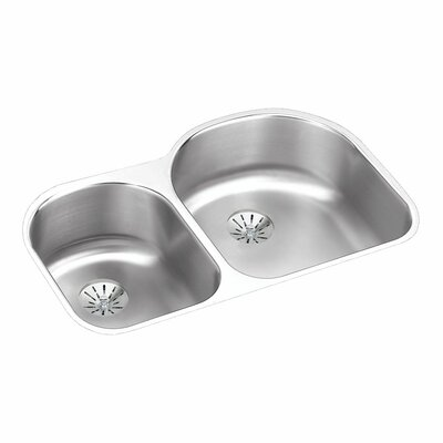 Gourmet 31.25 x 20 Stainless Steel Double Bowl Undermount Kitchen Sink with Faucet