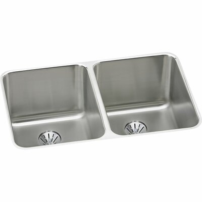 Gourmet 31.25 x 20 Stainless Steel Equal Double Bowl Undermount Kitchen Sink