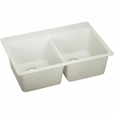 Quatrz Luxe 33 x 22 Double Bowl Top Mount Kitchen Sink Finish: Ricotta