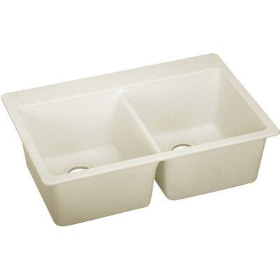 Quatrz Luxe 33 x 22 Double Bowl Top Mount Kitchen Sink Finish: Parchment