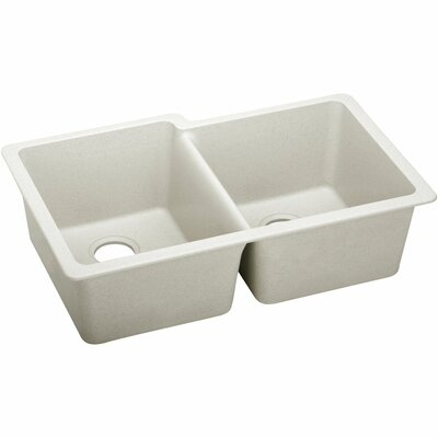 Quatrz Luxe 33 x 20.5 Double Bowl Undermount Kitchen Sink Finish: Ricotta