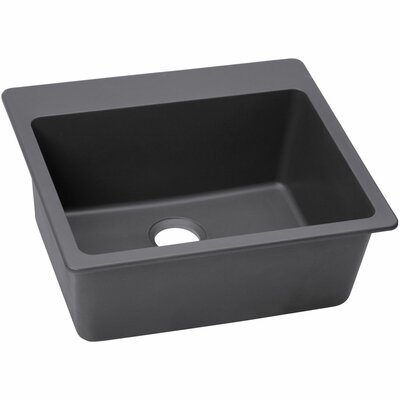 Quatrz Luxe 25 x 22 Single Bowl Dual Mount Kitchen Sink Finish: Charcoal