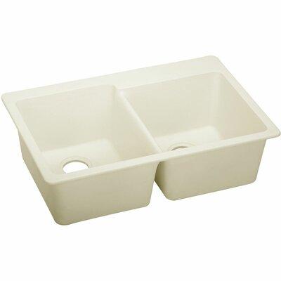Quartz Luxe 33 x 22 Double Bowl Top Mount Kitchen Sink Finish: Parchment