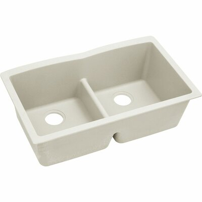 Quatrz Luxe 33 x 19 Double Bowl Undermount Kitchen Sink Finish: Ricotta