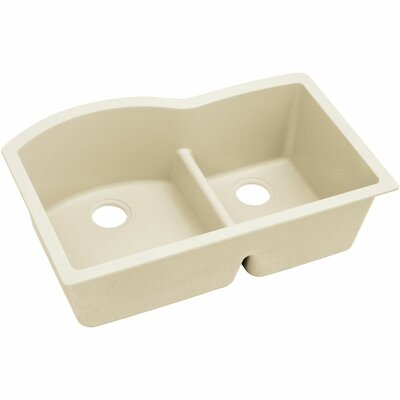 Quatrz Luxe 33 x 22 Double Bowl Undermount Kitchen Sink Finish: Parchment