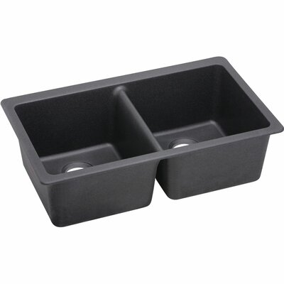 Quartz Luxe 33 x 18.75 Double Bowl Undermount Kitchen Sink Finish: Charcoal
