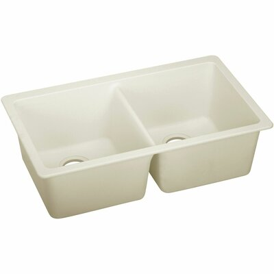 Quartz Luxe 33 x 18.75 Double Bowl Undermount Kitchen Sink Finish: Parchment