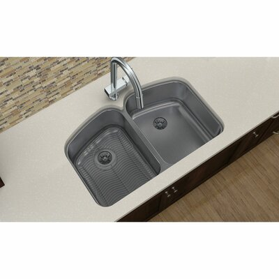 Harmony 32.75 x 20.81 Stainless Steel Equal Double Bowl Undermount Kitchen Sink with Faucet