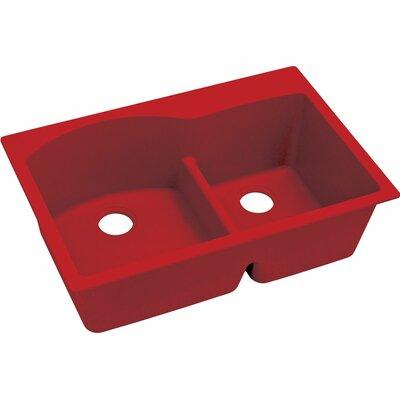 Quatrz Luxe 33 x 22 Double Bowl Top Mount Kitchen Sink Finish: Maraschino