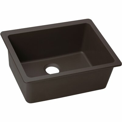 Quartz Luxe 25 x 18.5 Single Bowl Dual Mount Kitchen Sink Finish: Chestnut