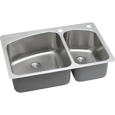 Harmony 33 x 22 Stainless Steel Offset Double Bowl Dual Mount Kitchen Sink with Faucet Faucet Drillings: 2 Holes, Left