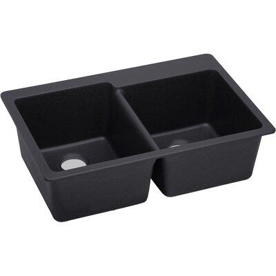 Quartz Luxe 33 x 22 Double Bowl Top Mount Kitchen Sink Finish: Caviar