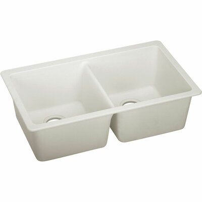 Quartz Luxe 33 x 18.75 Double Bowl Undermount Kitchen Sink Finish: Ricotta