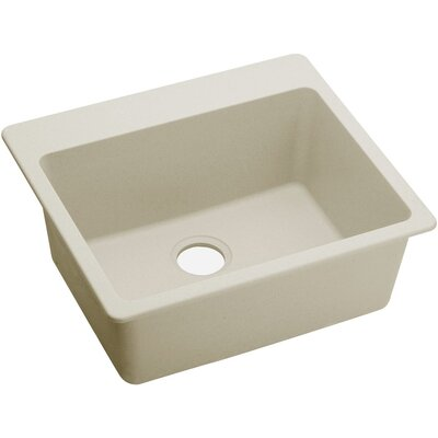 Quatrz Luxe 25 x 22 Single Bowl Dual Mount Kitchen Sink Finish: Parchment