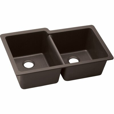 Quatrz Luxe 33 x 20.5 Double Bowl Undermount Kitchen Sink Finish: Chestnut