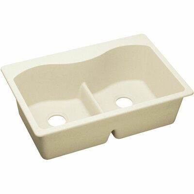 Quatrz Luxe 33 x 22 Double Bowl Top Mount Kitchen Sink Finish: Parchment