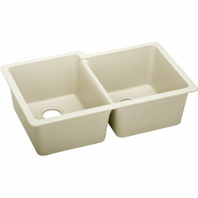 Quatrz Luxe 33 x 20.5 Double Bowl Undermount Kitchen Sink Finish: Parchment