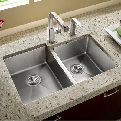 Crosstown 31 x 21 Double Basin Undermount Kitchen Sink
