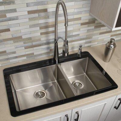 Crosstown 33 x 21 Double Basin Drop-In Kitchen Sink