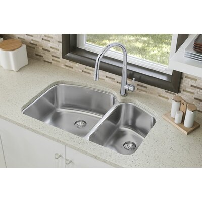 Harmony 32.75 x 21 Stainless Steel Double Bowl Undermount Kitchen Sink with Faucet