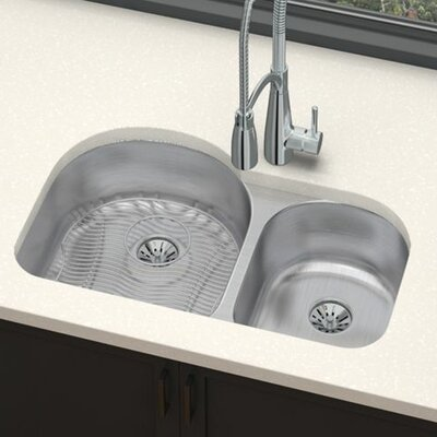 Gourmet 31.25 x 20 Stainless Steel Double Basin Undermount Kitchen Sink