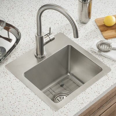 Crosstown� 15 x 15 Undermount Kitchen Sink Faucet Drillings: 1