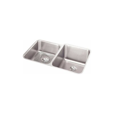Gourmet 31.25 x 20.5 Stainless Steel Double Bowl Undermount Kitchen Sink Bowl Depth: Left 7.9/Right 11.4