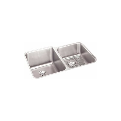 Gourmet 31.25 x 20.5 Stainless Steel Double Bowl Undermount Kitchen Sink Bowl Depth: Left 11.4/Right 7.9