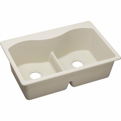 Quartz Classic 33 x 22  Kitchen Sink Finish: Mocha, Faucet Drillings: 3 Pre Scored