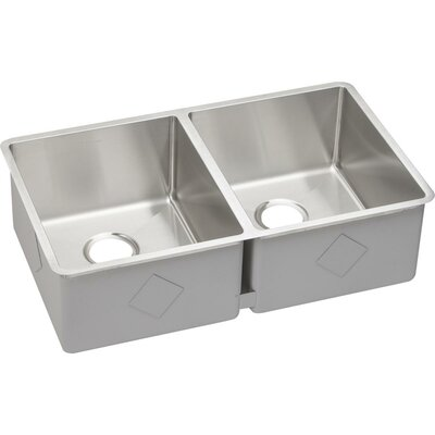 Crosstown 32 x 19 Double Basin Undermount Kitchen Sink