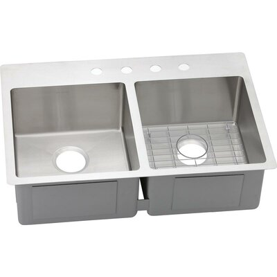 Crosstown 33 x 22 Double Basin Undermount Kitchen Sink with Sink Grid Faucet Drillings: 4