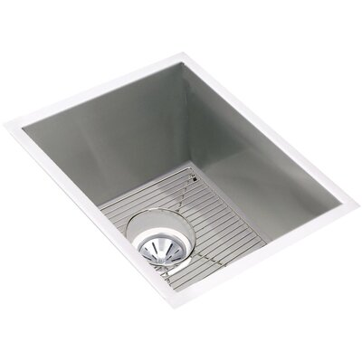 Crosstown 17 x 21 Undermount Kitchen Sink with Grid and Drain Assembly