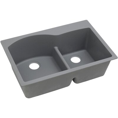Classic 33 x 22 Double Bowl Top Kitchen Sink Finish: Greystone