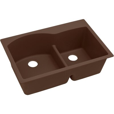 Quartz Classic 33 x 22 Double Basin Top Mount Kithen Sink with Aqua Divide Finish: Mocha