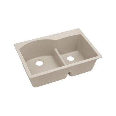 Quartz Classic 33 x 22 Double Basin Top Mount Kithen Sink with Aqua Divide Finish: Putty