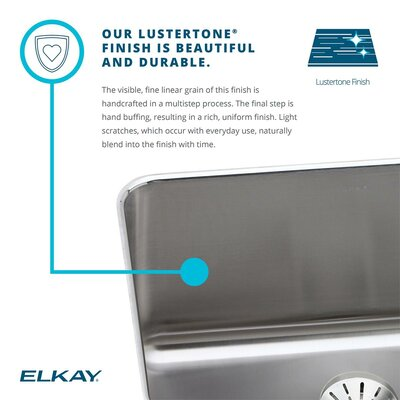 Lustertone 27 x 22 Drop-In Kitchen Sink with Drain Assembly Faucet Drillings: 2